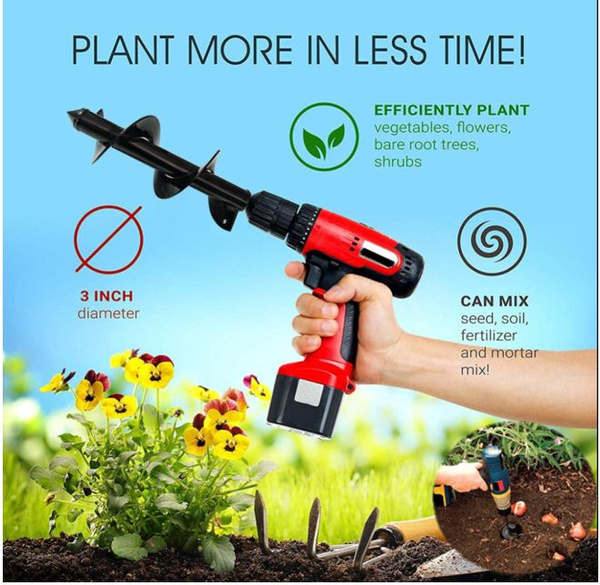 """10/"""" 12/"""" Earth Auger Drill Bit Replacement Electric Garden Planting Auger Spiral"""