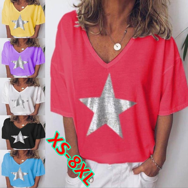 Summer, Plus Size, Star, Cotton T Shirt