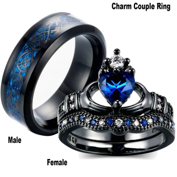 Steel, Couple Rings, Jewelry, Blue Sapphire