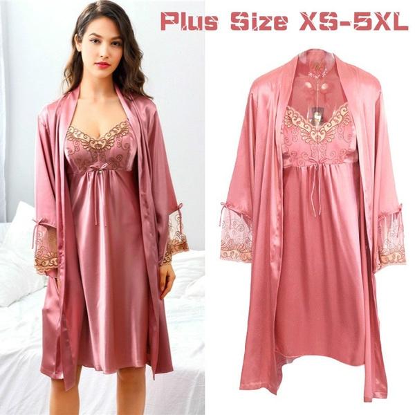 177d9b824 Women Fashion Soft Satin Two-Piece Pajamas Sets Ice Silk Sexy Lace ...
