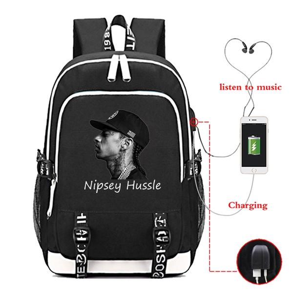 RAP Nipsey Hussle Backpack USB Charging Backpack Boys Girls Schoolbag Women  Men Laptop Backpack Travel Bag