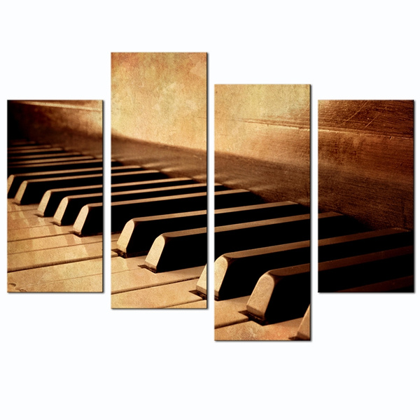 Wondrous No Frame 4 Panel Vintage Piano Keyboard Large Canvas Wall Art Sepia Tone Piano Key Picture Painting Music Instrument Giclee Print Artwork Modern Home Home Interior And Landscaping Palasignezvosmurscom