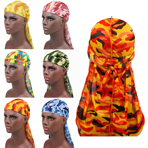 Women Men Fashion Camo Durag Turban Print Silk Headwear Headband Pirate Hats New