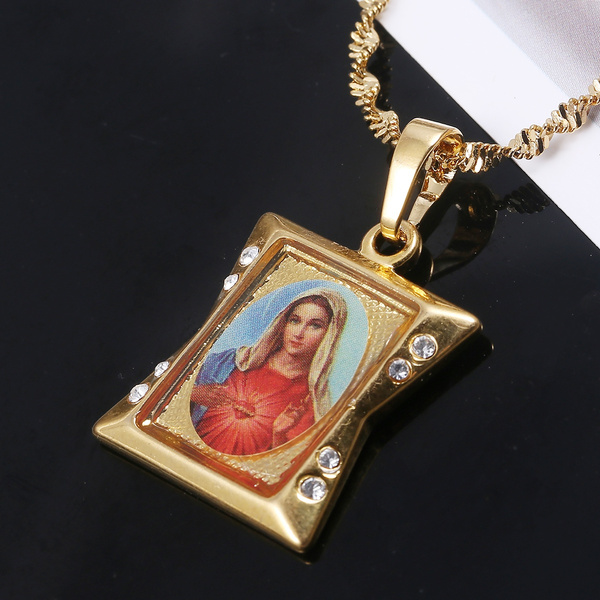 goldplated, christianjewelry, motherspendantnecklace, Jewelry