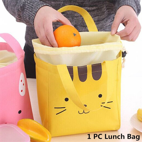 bcca47e074d6 1PC Cute Animal Cat Dog Rabbit Thermal Insulated Lunch Box Tote Cooler Bag  Bento Picnic Pouch For Girl Kids