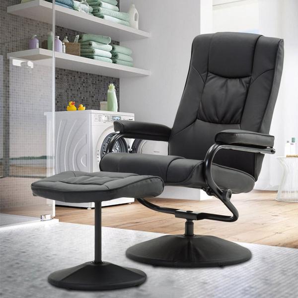 Sensational 360 Degree Swivel Home Office Recliner Chair Reclining Armchair With Free Matching Foot Stool Machost Co Dining Chair Design Ideas Machostcouk