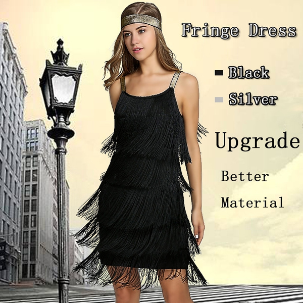 1920s Fringe Flapper Dress Women Fringe Party Dress Sleeveless Strap Gatsby  Costume Dance Dress Plus Size