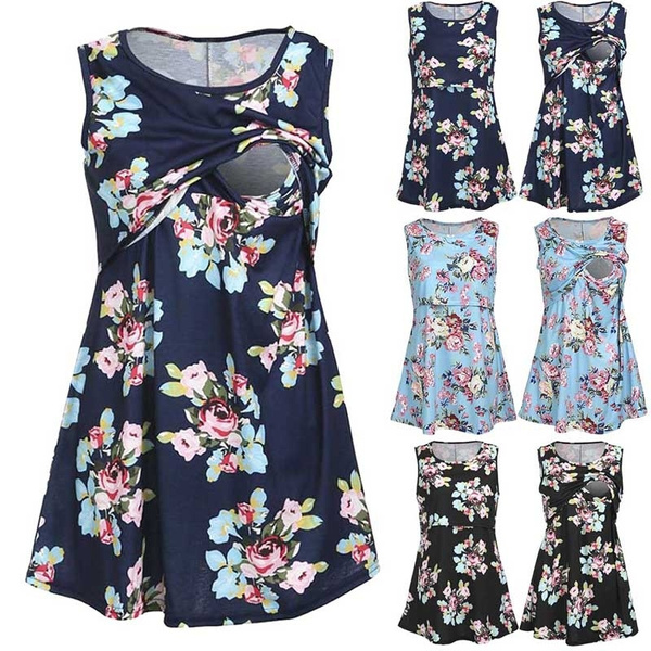 a27600cdea655 Pregnant Women Summer Sleeveless Floral Printing Shirt Maternity ...