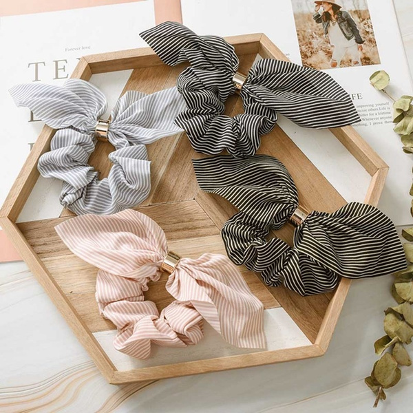 New Rabbit Ear Bow Striped Hair Accessories Elastic Hair Band Hair