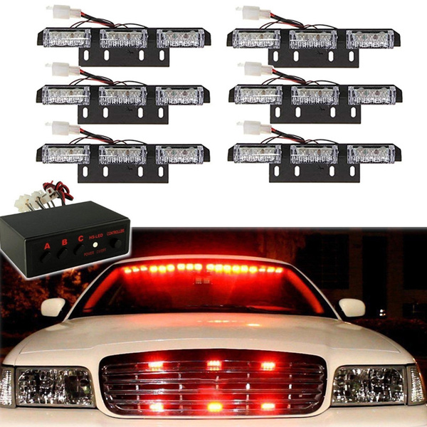 Vehicle Strobe Lights >> 54 Led Emergency Vehicle Strobe Lights Lightbars Deck Dash Grille Red Amber Warning Flash Light
