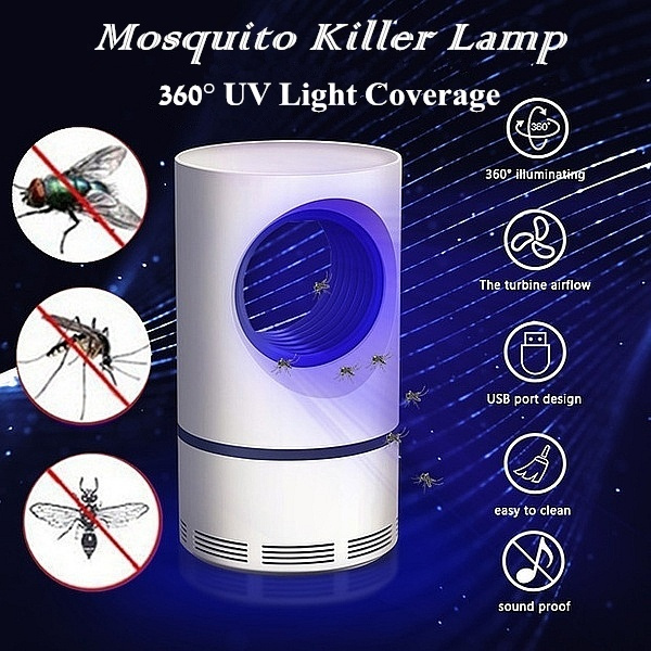 360°Illuminating Mosquito Killer Lamp UV Light Electric Insect Killer Lamp  for Home Bedroom LED Mosquito Trap Repellents Fly Pest Catcher(USB Powered)