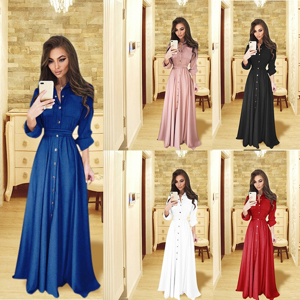 super cute 177fa 3d39a Women Fashion Long Sleeve Dress Tshirt Dress Vestiti Eleganti Robe Longue  Femme Sommerkleider Damen Plus Size Slim Casual dress