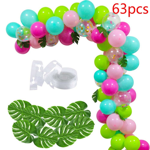 65pcs Set Diy Balloon Arch Kit With Blue Green Rose Confetti Balloons Palm Leaves Balloon Chain For Birthday Wedding Hawaii Tropical Themed Party