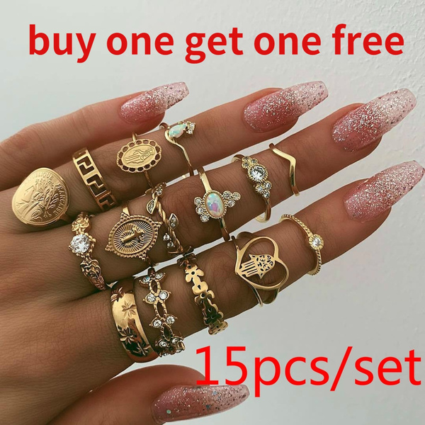 15pcs/Set Retro Beauty Avatar Gold Coin Cross Ring Set Pattern Love Fatima Palm Ring Ring Set For Women by Wish