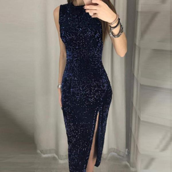 Vestiti Eleganti Wish.Donna Vestito Con Paillettes Elegante Vestito Da Invernale Senza