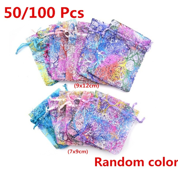 50//100 9cm*12cm Organza Wedding Party Favours Gift Candy Bags Jewelry Pouches