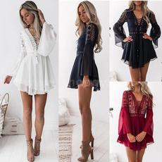 Mini, summer dress, ruffle, Lace