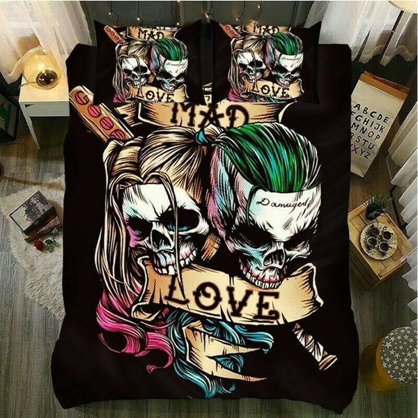 3D Suicide Squad Harley Quinn and Joker Duvet//Quilt//Doona Cover Set Pillowcase