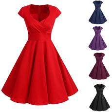 Swing dress, short sleeve dress, pleated dress, Vintage