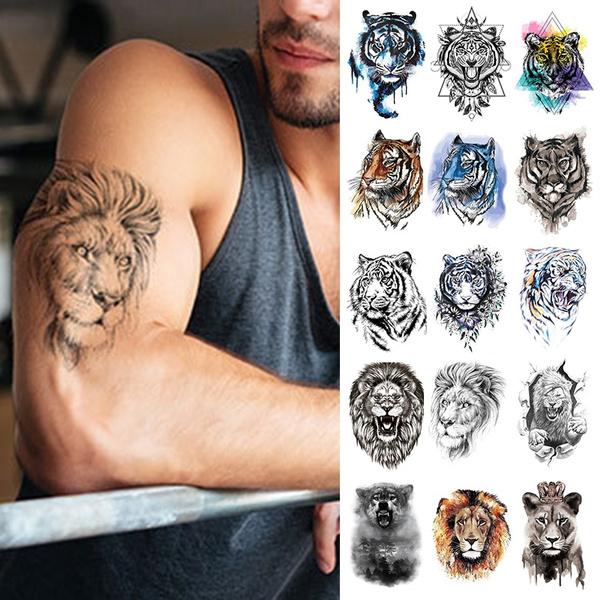 Arm Temporary Tattoo Stickers For Men And Women Tiger Wolf Chest Shoulder Tattoos Guys Teens Waterproof Fake Tattoos Wish