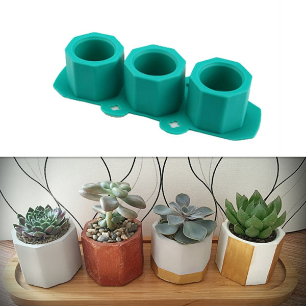 Plaster Useful Cup Molds 3 Holes Creative Pot Maker DIY Flowerpot Cement  Craft Silicone Mould Clay Mold