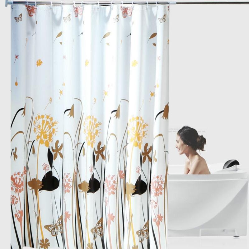 Waterproof Shower Curtain Bathroom Bath Fabric Decor Home Room Ring Hooks Large