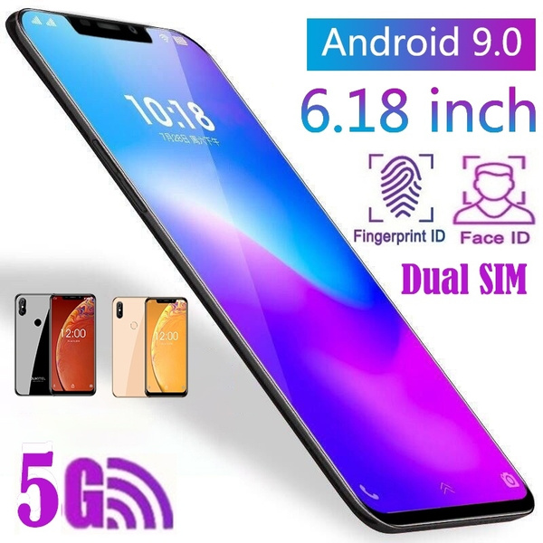 LTE Android 9 0?Face ID Fingerprint Unlock Phone 6 18 Inch 2 5D Curved  Glass Screen Support 5G Wifi Pie Quad Core 1 5Ghz Dual SIM Cards Dual Rear