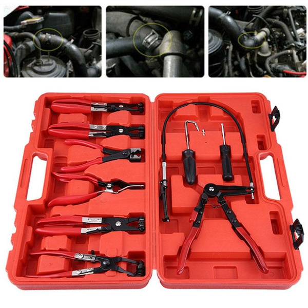 9PCS Hose Clamp Clip Remover Pliers Kit Swivel Jaw Clic-R Collar Pliers Tool