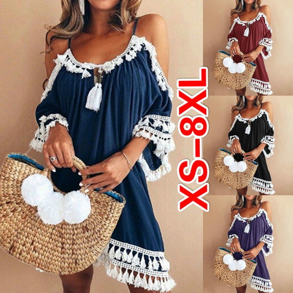 Plus Size Womens Lace Off Shoulder Mini Dress Ladies Summer Ruffle Party Dresses