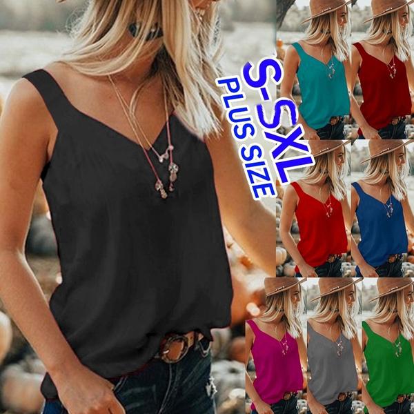 Deep V-Neck, Summer, Vest, Plus Size