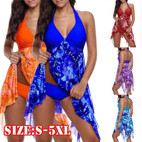 1da90ea39d Women's Fashion Print Bikini Two Piece Halter Asymmetric Hem ...