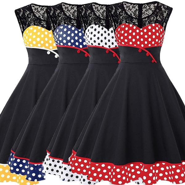 Damen Elegant 1950er Rockabilly Kleid Spitzenkleider Polka Dots Retro Vintage Petticoat Kleider Faltenrock