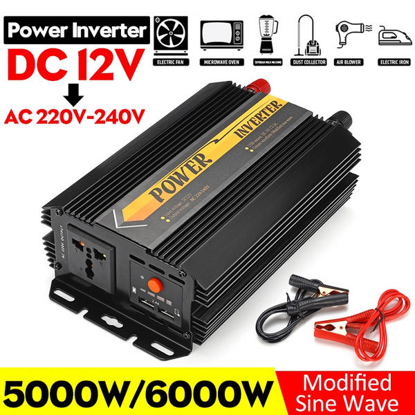 5000w 6000w 12v To 220v 240v Power Inverter Solar Converters Adapter Charger Modified Sine Wave Converter For Home Camping