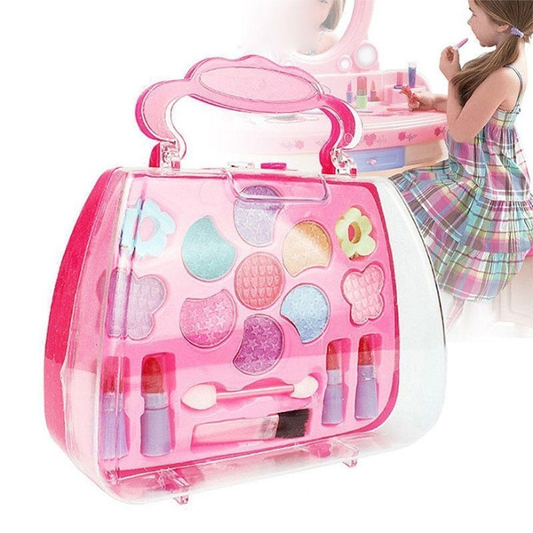 e492bc710052 Kids Girl Makeup Set Eco-friendly Cosmetic Pretend Play Kit Princess Toy  Gift