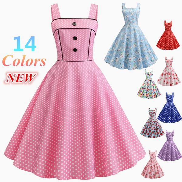 Vestiti Eleganti Su Wish.Vintage Fashion Women Dress Rockabilly 50s Style Retro Dress