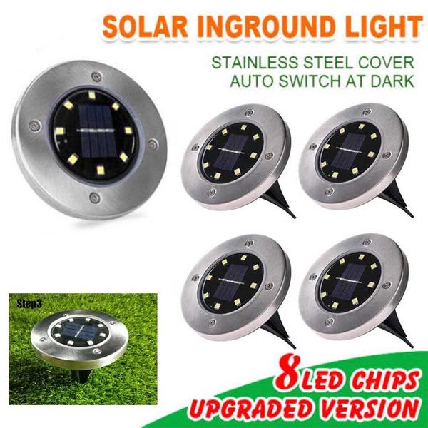 Led Per Auto Esterni.4 Packs Solar Powered 8 Led Buried Inground Recessed Light Garden Outdoor Deck Path