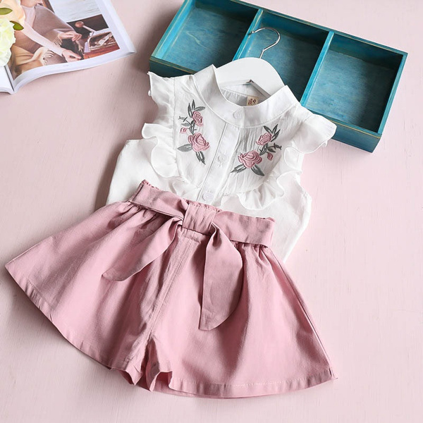Floral Sleeveless Vest Tops+Leaf Dress Printed Set EDTO Kids Girl Clothes