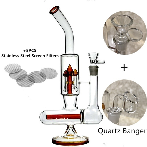 2019 NEW 32CM High Borosilicate Glass Pipe New Cool 18mm Big Smoking Water  Percolator Pipe Tall Dab Glass Oil Rig Glass Pipe With Beaker & 100%Quartz