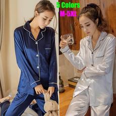 housewares, silk, sexy pajamas, Long Sleeve