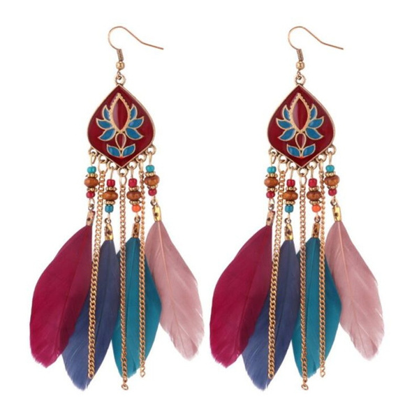 Fashion Vintage Style Earrings Feather Tel Women S Temperament Long Jewelry Princess Exquisite