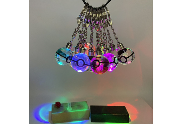 Crystal Ball Pokemon Pokeball Gengar 3D LED Night Light Key Ring Creative Gift