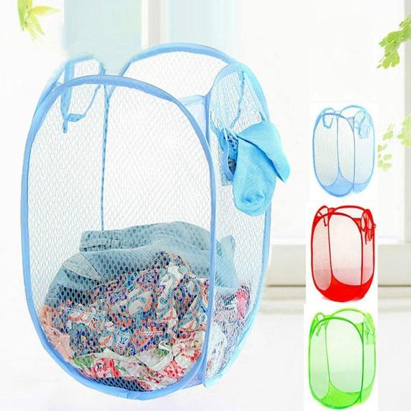 Fashion Foldable Washing Basket Bag Clothes Laundry Hamper Mesh Storage Home