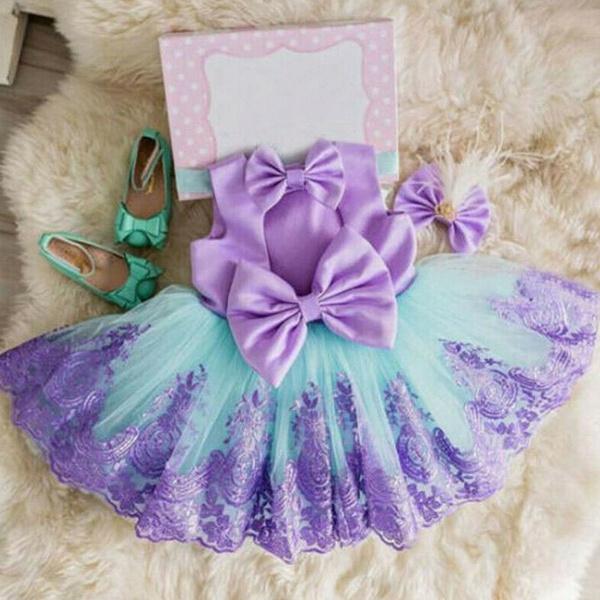 IBAKOM Newborn Baby Girls Short Sleeve Bowknot Lace Embroidery Sequin Beaded Tutu Dress Wedding Birthday Bridesmaid Ball Gown