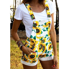 Summer, Women Rompers, Moda, Sunflowers