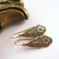 Antique, Brass, antiquesilverearring, Flowers