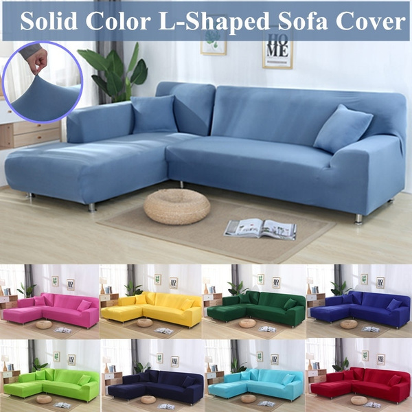 2pcs Sofa Slipcovers L Shape Sofa Covers Universal Couch Sofa Protector  Elastic Anti-ash Decor Solid Color Resistant Slipcover(18 Colors)
