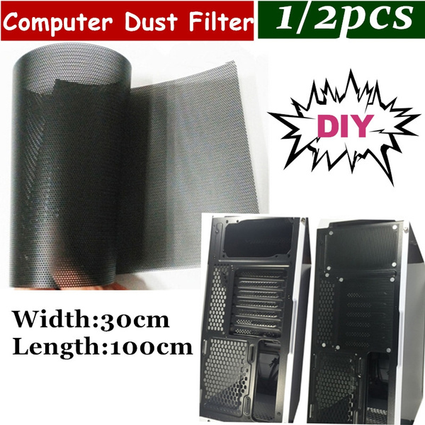 DIY 30x100cm Computer Mesh PVC PC Case Fan Cooler Black Dust Filter Cover TDO