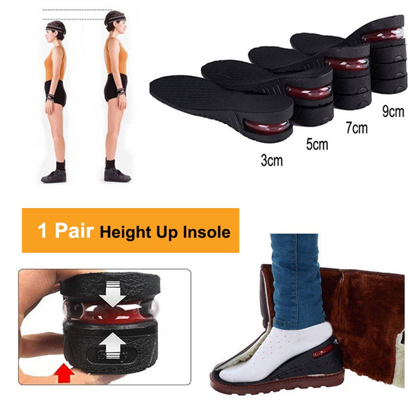 Unisex Increase Insole 1-4 Layer Height Heel Lift Shoe Air Cushion Pad Taller