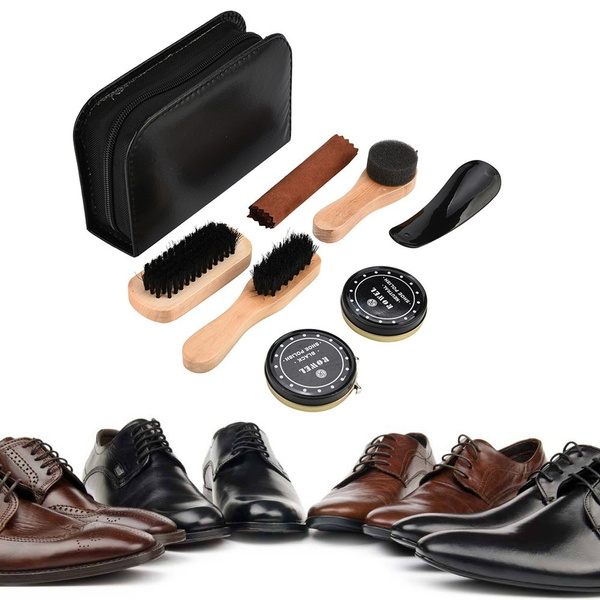 great prices detailed pictures low price Shoe Shine Care Kit Polish Cleaning Brushes Sponge Cloth Travel ...