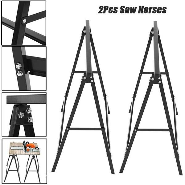Stupendous 2Pcs Folding Saw Horse Lightweight Trestle Work Bench Stand Portable Cutting Logs Support Beatyapartments Chair Design Images Beatyapartmentscom